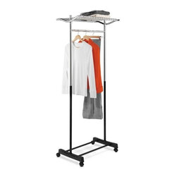 Garment Rack With Top Shelf, Grid, Chrome/Black - Honey-Can-Do GAR-01173 Top Shelf Garment Rack, Chrome / Black.  The perfect solution for those that need extra hanging storage space, this attractive and functional garment rack is a nice addition to any laundry room, bedroom, or foyer. The sturdy steel frame sits  on smooth rolling casters to move easily from room to room. Use the convenient top shelf for folded clothes or accessories and store bags or shoe boxes below. Some assembly required.
