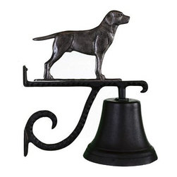 Cast Bell with Swedish Iron Lab Ornament - The lab standing at attention atop the Cast Bell with Swedish Iron Lab Ornament has a distinctive Swedish iron finish that adds a classic touch to your home. It's made of strong aluminum, includes a scrolled mounting bracket for easy installation, and has a baked-on black enamel finish that weathers the elements nicely.