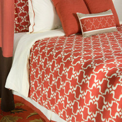 Rizzy Rugs - Taza Paprika Queen Duvet with Poly Insert Bed Set - - Construction: Quilting, embroidered, welting and piecing details  -  Rich coral and creamy ivory come together to create this exquisite duvet collection whose overall pattern is reminiscent of traditional Moroccan tile patterns. Highly stylized and graphic this fabric is full of movement, and in combination with the color palette is classic with a touch of eclectic style.  - Care and Cleaning: Machine wash separately Rizzy Rugs - BT0775 Q