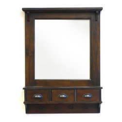 Proman Products - Bombay Wall Mirror in Antique Dark Walnut Fin - Three drawers to store small items. Elegant classic design. Four hanging hooks for keys and clothes. Matching hardware make this unit very elegant looking. Antique brass hardware. Made from wood. Antique finish. 27 in. W x 37 in. H