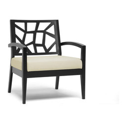 Wholesale Interiors - Jennifer Dark Brown and Cream Modern Lounge Chair - Evoking a combination of nature-inspired and Danish modern style, our Jennifer Lounge Chair is the perfect accompaniment to your living room seating area. As far as living room accent chairs go, the Jennifer Designer Chair is priced to sell and built to last: a solid rubber wood frame with black/brown wenge finish make this the perfect choice. Polyurethane foam cushioning topped with cream twill fabric makes this your favorite place to sit and an extra-wide seat provides additional comfort. This Malaysian-crafted chair requires assembly and should be spot cleaned. Arm height: 23.25 inches. Seat dimensions: 16.87 inches high x 24 inches wide x 20.5 inches deep. Dimensions: 31.87 inches high x 27.62 inches wide x 24.5 inches long.