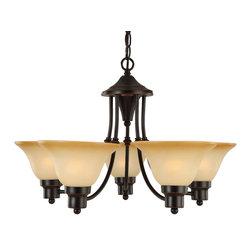 Hardware House - Bristol Series Bronze Interior Lighting Collection, 5-Light Chandelier - Finish: Oil Rubbed Bronze