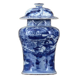 Oriental Danny - Blue and white jar - Hand painted blue and white porcelain jar.