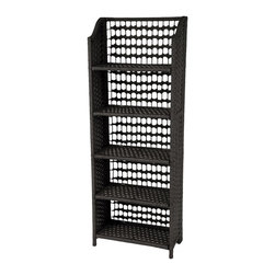 "Oriental Furniture - 53"" Natural Fiber Shelving Unit - Black - Built from wood and natural woven plant fiber, this collapsible unit maximizes storage space without being heavy or bulky. The natural fiber lends an eclectic appearance that fits in with many styles of decor, and it is so easy to set up and move around that it will find a space in any home or business."