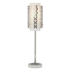 Robert Abbey - Jonathan Adler Parker Table Lamp, Polished Nickel - If you love modern design, you'll swoon over this edgy table lamp. The hip perforated metal outer shade casts interesting patterns when the light is on, and the glow of light through the metal is innovative and unique.