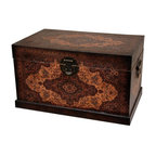 Oriental Furniture - Olde-Worlde Baroque Storage Box - A beautiful trunk, covered in finely textured faux leather, with a majestic continental style European design. This chest has metal handles attached to both ends, with oriental decorative hinges and hasps. This is a classic artifact from the days when people used trunks instead of suitcases, providing lots of storage when you needed it. Nowadays they are beautiful accents, and provide great, practical storage space for extra bedding, sleeping bags, toys, clothes, or crafter's kit.