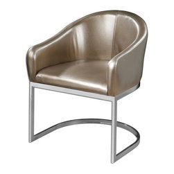 """Uttermost - Uttermost 23148  Marah Modern Accent Chair - Modern barrel-style accent chair in metallic, champagne faux leather and polished chrome base. seat height is 18.5""""."""