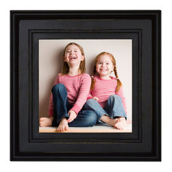 MyBarnwoodFrames - Square Black Picture Frame, 8x8, Solid Poplar Wood with Glass and Hanging Hardwa - This square black picture frame features a solid wood (poplar) molding, careful construction and a lifetime warranty against factory defects. Black with lightly distressed edges to highlight the molding details. Lacquer clear-coat finish. Frame will accommodate one 8x8 inch photograph or image. Includes hanging hardware and a dowel stand if shelf display is preferred. Glass and cardboard backing are also included. Made in the USA. This frame gives you a great place to display your favorite photographs, prints and paintings. The 3/8 inch rabbet will even accommodate thicker items such as a stained glass display.
