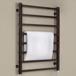 "24"" Miletos Plug-In Towel Warmer - Oil Rubbed Bronze - Step out of your shower or bath into the warmth of a towel fresh from the luxurious Miletos Liquid-Filled Towel Warmer. This contemporary high-end towel warmer mounts directly to your wall and will Plug-Into an existing outlet."