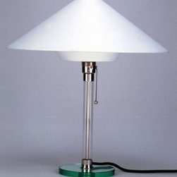 Wagenfeld WG 28 Table Lamp - The Wagenfeld WG 28 Table Lamp is designed by Wilhelm Wagenfeld and made by Tecnolumen. Wilhelm Wagenfeld created in the 1930s a series of table and floor lamps with synthetic shades which were based on his famous Bauhaus table lamps. Table lamp Tecnolumen Wagenfeld WG 28 stands out with its intricately designed lamp shade: the large cone-shaped shade is connected at the bottom to a conical element. It is made from heat-resistant plastic covered with white fabric.The WG 28 came, however, not by anyone, but a known quantity when it comes to the industrial-inspired combination of craftsmanship and inspired forms. So was Wagenfeld as a teacher or professor familiar with both the environment visual arts as well as senior positions in industrial design with expert glass and metal processing.     .proddesc p{font-family: Verdana, sans-serif; font-size:8pt!important;}   .pdtable{font-family: Verdana, sans-serif; font-size:8pt!important;padding:10px;}    Product Details: The Wagenfeld WG 28 Table Lamp is designed by Wilhelm Wagenfeld and made by Tecnolumen. Wilhelm Wagenfeld created in the 1930s a series of table and floor lamps with synthetic shades which were based on his famous Bauhaus table lamps. Table lamp Tecnolumen Wagenfeld WG 28 stands out with its intricately designed lamp shade: the large cone-shaped shade is connected at the bottom to a conical element. It is made from heat-resistant plastic covered with white fabric.The WG 28 came, however, not by anyone, but a known quantity when it comes to the industrial-inspired combination of craftsmanship and inspired forms. So was Wagenfeld as a teacher or professor familiar with both the environment visual arts as well as senior positions in industrial design with expert glass and metal processing. Details:                         Manufacturer:            Tecnolumen                            Designer:            Wilhelm Wagenfeld                            Made in:            Germany      