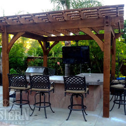 Family Size Pergolas - Western Timber Frame freestanding Family Size pergola for covering over outdoor entertainment center and kitchen.