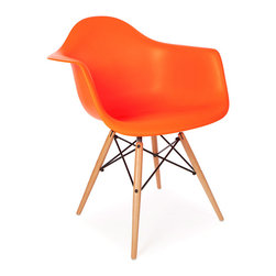 "Vertigo Interiors - *Set of 6* Eames Style DAW Dining Arm Chair, Orange - The Eames Style DAW arm chair features the iconic Eames style wooden ""dowel"" legs. This chairs blends in with any type of dining setting. The high quality Polypropylene is easy to clean and is extremely durable."