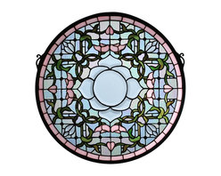 Meyda Tiffany - Meyda Tiffany Tulip Bevel Medallion Stained Glass Tiffany Window X-91099 - This Meyda Tiffany stained glass Tiffany window features a classic medallion shape and soft tones and colors that create a beautiful feminine appeal. The soft shades of pale blue are complimented by light pinks and deep greens, which work together to highlight the botanical elements of this design. A large floral center in pale blue draws the eye in.