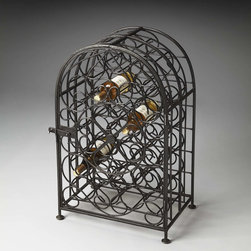 Clybourn Iron Wine Rack - Designed to hold up to 23 bottles, this traditional wine rack is made of iron in distressed black iron finish.