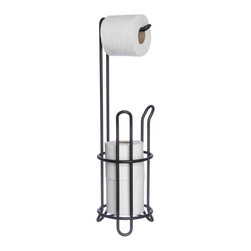 None - Oil-rubbed Bronze Combo Toilet Tissue Holder - Be prepared with this sleek toilet tissue holder in a timeless oil-rubbed bronze finish. This rack conveniently holds one ready-to-use roll and stores two more below so you don't have to worry about running out of toilet paper.