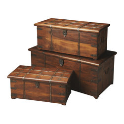 Butler Specialty - Butler Arcadia Solid Wood and Iron Storage Trunk Set - This storage trunk set is comprised of three efficient and artful chests. each one is made of solid Mango Wood with Iron details. The Iron latches and bands are only outdone by the dogwood detail that crowns each chest.