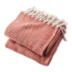 Brahms Mount - Cotton Herringbone Throw Blanket, Blaze - Cotton throw blanket with hand twisted fringe made in the USA by Brahms Mount of Maine since 1983.