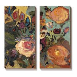 Artcom - Rose Garden II by Jennifer Harwood - Rose Garden II by Jennifer Harwood is a Canvas Art Set.