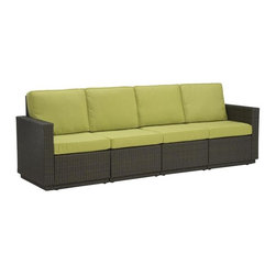 HomeStyles - 4-Seater Outdoor Sofa (Green Apple) - Color: Green AppleSeat and back cushions in green apple color. Rust-resistant, powder-coated aluminum frame. 100% recyclable, moisture and weather resistant, low maintenance. Shaped legs with adjustable levelers to accommodate uneven surfaces. Bolted together for additional support and sturdiness. Polyurethane cushions with polyester fiber wrap. Stain resistant, fade resistant and water repellent fabric. Requires very little maintenance. Made from cycroplene. Deep brown color with a gold streak design. Made in Indonesia. Assembly required. 105 in. L x 29.5 in. W x 34.5 in. H. WarrantyAn economical solution for upscale outdoor furniture.
