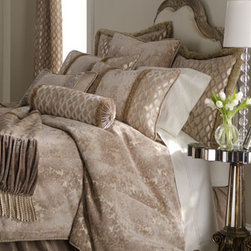 "Dian Austin Couture Home - Dian Austin Couture Home Queen Damask Duvet Cover, 90"" x 95"" - Exclusively ours. ""Palazzo"" bed linens from Dian Austin Couture Home® begin with a timeless cut-velvet damask pattern in champagne. A cut-velvet lattice motif on a shimmering ground and a myriad of fancy trimmings add to the elegance. Dry clean....."