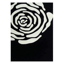 Rug - ~5 ft. x 7 ft. Black/White Transitional Floral Living Room Area Rug, Hand-Tufted - Living Room Hand-tufted Shaggy Area Rug