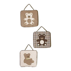 Sweet Jojo Designs - Chocolate Teddy Bear Wall Decor (Set of 3) - The Chocolate Teddy Bear Wall Decor (Set of 3) includes 3 wall hangings that will add a designers touch to any childs room! These childrens wall hangings will complete the look of your child's room.