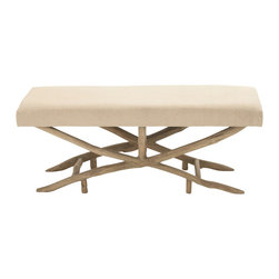 Classic and Comfortable Wood Fabric Bench - Description: