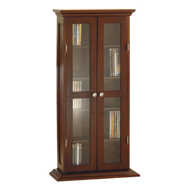 Winsome Wood - Wood Framed Glass Door Media Cabinet w Five A - Keep DVD's, movies, games, CD's, and other media items safety stored in this attractive cabinet. Two doors each feature glass inserts and a deep finish, adding elegance that will compliment any home. The Beachwood construction is durable and made to last for years of stylish function. * Walnut finish. Beech Wood. Elegantly styled. Traditional profiled trim. Deep stain. 5 adjustable shelves offer storage for up to 135 DVDs, 205 CDs or 75 videocassettes. Glass door inserts. Satin nickel-finish metal hardware. Assembly required. 9.25 in. L x 22 in. W x 44.2 in. H. 40 lbs