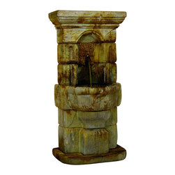 Linari Green Man Fountain, Elban Olive Stone - *Please Note: Our color chart is for example purposes only.  Monitor settings and how the finish is applied to these outdoor water fountains can vary to what is shown in the color chart.  Actual stone samples of each finish can be purchased to help you make your finish choice.
