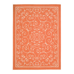 Nourison - Nourison Home And Garden Rs019 Orange Area Rug - As the name suggests, the beautiful Nourison Home Garden rugs can be used both inside and outdoors. Their range of stunning patterns and designs makes these rugs ideal for a casual indoor room that desires a cheerful and bright feeling. The Home Garden rugs are long lasting and durable under any outdoor weather conditions through UV and mildew protection, fade resistance and ease to clean. Comfortable and welcoming, these rugs are a must for any home.