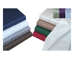 Bed Linens - Egyptian Cotton 400 Thread Count Stripe Duvet Cover Sets King/Cal-King  Burgundy - 400 Thread Count Stripe Duvet Cover Sets
