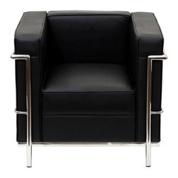 LexMod Le Corbusier–style LC2 Armchair, Genuine Black Leather - The Le Corbusier chair is the little black dress of home decor. It goes with everything.
