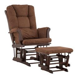 Stork Craft - Stork Craft Tuscany Glider and Ottoman with Free Lumbar Pillow in Espresso with - Stork Craft - Rocking Chairs Rockers - 06554599 - Available in 6 wood finishes and 4 fabric combinations to create your own custom Tuscany Glider and Ottoman. The Stork Craft Tuscany Glider and Ottoman set offers gentle motion while feeding your baby in those early morning hours. Featuring a solid construction with a magical sleigh design this is a royal centerpiece for your nursery. The enclosed metal ball-bearings allow for an incredibly smooth motion to glide your baby back to sleep. Micro fiber spot-cleanable cushions ease the worry about spills while the construction offers an exquisite finish you'll appreciate far beyond the baby years. The Tuscany Glider comes with a matching soft plush lumbar support pillow for supporting your baby during feeding times.