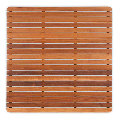 """Teakworks4u - Teak Mat with Rounded Corners (30"""" x 30"""") Finished - Naturally mold and mildew proof due to its high oil content, this bath mat will serve you in style for years to come. The inherent beauty of teak is sure to complement your bathroom accessories and create a perfect decorative accent. Naturally high silica content makes this piece incredibly slip resistant. Crafted with quality wood, countersunk screws and rubber footing to protect your floors, this teak mat is nothing short of an investment. Proudly made in the U.S.A.  Custom sizes available by contacting Teakworks4u."""