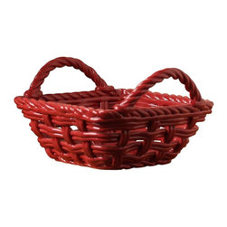 Tabletops Unlimited - 9 in. Square Hand Woven Serving Basket with H - Dishwasher Safe.  Microwave Safe.  Oven Safe up to 300 °F. Material: Earthenware. 9 in. L x 9 in. W x 5.6 in. H x (2.75 lbs.)This charming ceramic basket makes an appealing display for your table settings, and feels right at home dining casually or entertaining outdoors.