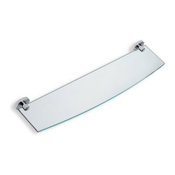 "StilHaus - Clear Glass Bathroom Shelf with Brass Holder, Satin Nickel - 22"" glass shelf. Mounted holders are made of brass in 2 available finishes."