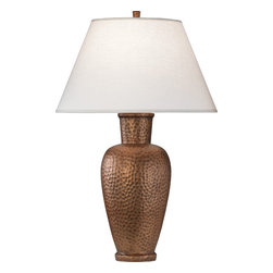 Robert Abbey - Beaux Arts Table Lamp - This lamp has hammered out all the details. Cast in metal, its shapely silhouette is reminiscent of a ginger jar. Place a pair on either side of your sofa or use it to cast warm, ambient light in your office or den.