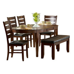 Homelegance - Homelegance Ameillia 7-Piece Butterfly Leaf Oval Dining Room Set - Alive with an exciting arts and crafts flair, the contemporary style of Ameillia collection uses smooth medium brown finish and clean line design to create an inviting atmosphere to enhance your dining experience. The contemporary design appeals to the sense with its subtle attention to details. The birch veneered table features oval shape top with butterfly leaf supported by massive shaker leg. Chair seat and bench seat feature easy to clean dark brown bi-cast vinyl.