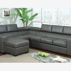 Modern Gray Leather Sectional Sofa Couch Reversible Chaise Adjustable - A great addition to a modern home, this elegant sectional has a built-in chaise. Modular in design, this set may be assembled in three different ways to accomodate any living space. Three great colors to choose from: white, gray and black.