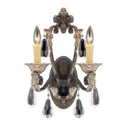 Savoy House - Hensley 2-Light Sconce - An elegant sophisticated family filled with value, finished in rich Fiesta bronze and accompanied by the perfect amount of clear crystal accents. cream scavo glass or cream drip candle covers round out the collection's exceptionally stylish look.