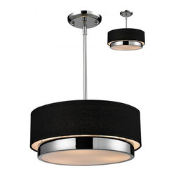 Three Light Chrome Black Shade Drum Shade Pendant - A black linen cylindrical drum shade defines this elegant pendant, as does its complimentary chrome hardware. This fixture is sure to add contemporary class to any space.