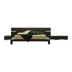 Rossetto - Rossetto Win Wenge Platform Bed with Night Stands 3 Piece Bedroom Set - Rossetto - Bedroom Sets - T2666BBCX32063PcBedPKG - Rossetto Win Platform Bed in Wenge Without Lights (included quantity: 1) A night area marked by aesthetic appeal and design.