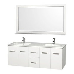 Wyndham Collection Centra 60-in. Double Bathroom Vanity Set - White - If you need storage and a modern remodel for your master bath, choose the Wyndham Collection Centra 60-in. Double Bathroom Vanity Set - White. It's constructed of solid hardwoods with a crisp white finish and slender, brushed chrome drawer rods for modern appeal. Two central drawers keep you organized and two sets of two cupboard doors with shelving behind compete the look. This set comes complete with two undermount sinks, your choice of stylish countertop materials, and a matching framed mirror with shelf. About the Wyndham CollectionWyndham and the Wyndham collection are all about refinement, detailing, uniqueness, quality, and longevity. They are dedicated to the quality of their products and own the factory where each piece is constructed. This allows Wyndham to offer products that reflect the rigorous quality standards required for every piece that is offered to their customers. The Wyndham collection showcases elegant, modern design styles that highlight functionality and style in every detail.