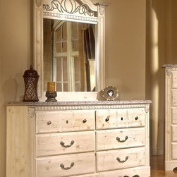 Standard Furniture - European Country 6-Drawer Dresser with Mirror - Set includes: Dresser and Mirror. Seville offers a warm blend of soft tones and granite color illustrate the European Country style of this collection. Simulated carvings offer texture and richness to the design. Ample storage featured on the dresser's six drawers. Wood products with simulated wood grain laminates. Metal is used for the grills. Bail pulls and knobs with simulate pewter finish. Surfaces clean easily with a soft cloth. Old fashioned wood color and simulated Jura granite. Offer roller side drawer guides allowing for easy operation. Drawer stops are included for safety. Top drawers are felt lined to protect delicate items. Quality wood products bonded together bonded together create durable construction throughout. Dresser: 16 in. W x 63 in. L x 34 in. H (144 lbs.). Mirror: 38 in. L x 47 in. H (35 lbs.)