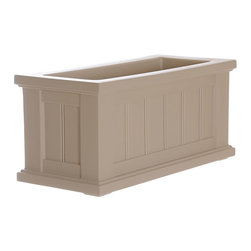 "Mayne Inc. - Cape Cod Patio Planter 24x11 Clay - Looking to upgrade your outdoor space? Enhance the look of your patio or front entrance with a selection of Mayne's Cape Cod planter collection. With rich architectural detail you can easily transform your patio into your own personal retreat. The Cape Cod planters also feature a water-reservoir that creates a self watering effect to keep your plants looking fresh! The Cape Cod collection features a beaded panel design. Our molded plastic planters are made from high-grade polyethylene, double wall design. Inside dimensions are 20""L x 7""W x 8.25""D, approximately 3.5 gallon soil capacity. Inside dimensions are 12""L x 12""W x 12""D, approximately 4.6 gallon soil capacity. Water reservoir capacity is approximately is 2.2 gallons (8.3 litres). 15-year limited warranty."