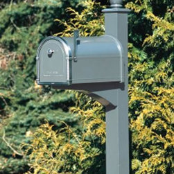 "Coronado Mail Post - All components are heavy duty, powder coated aluminum and come with mounting hardware. 91"" H, 3 1/2"" W. Compatible only with the Coronado mailbox."