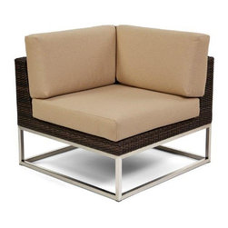 Caluco - Mirabella Corner Sectional - The Mirabella Corner Sectional combines style, durability, and comfort to provide unmatched value in outdoor seating.  Pictured in the dark java wicker with stainless steel finish.