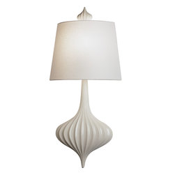 Robert Abbey - Jonathan Adler Ceramic Sconce Wall Sconce - She sells seashells down by the seashore — say that 10 times fast! This elegant wall sconce brings a beachy feel to any abode. Made of ceramic, glass and fabric, it's an enlarged nightlight with extra splash!