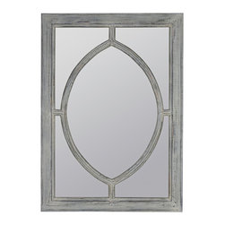 """Cooper Classics - Country - Cottage Aster 45"""" High Rectangular Wall Mirror - Bring rustic and weathered style to any empty wall or vanity area with the Aster wall mirror. The rectangular frame features an antique blue finish with cream undertones and a football-shaped inner frame. A perfect decor accent to dress up any coastal or traditional living space. Rectangular wall mirror. Antique blue finish with cream undertones. 45"""" high. 32"""" wide. Mirror glass only is 38 1/2"""" high 26"""" wide.  Rectangular wall mirror.  Antique blue finish with cream undertones.  45"""" high.  32"""" wide.  Mirror glass only is 38 1/2"""" high 26"""" wide."""