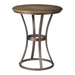 Home Decorators Collection - Maria Accent Table - The gorgeous top of our Maria Accent Table offers up the beauty of natural wood grain. Contrasting the dense circle of wood is a narrow base of iron, gently tapering down to stylish circular foot. Wood top with your choice of finish. Iron base in complementary finish.